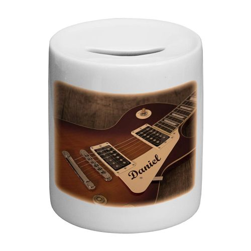 Personalised Guitar Music Rock Band Novelty Ceramic Money Box